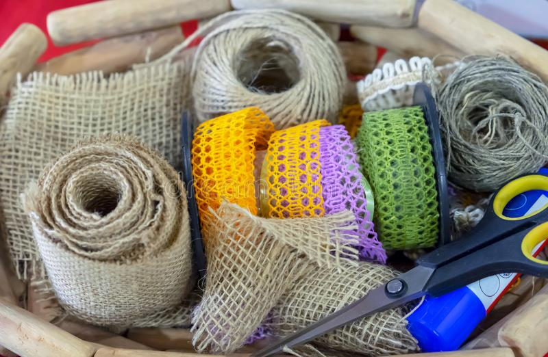Items and materials for needlework and creativity stock photo