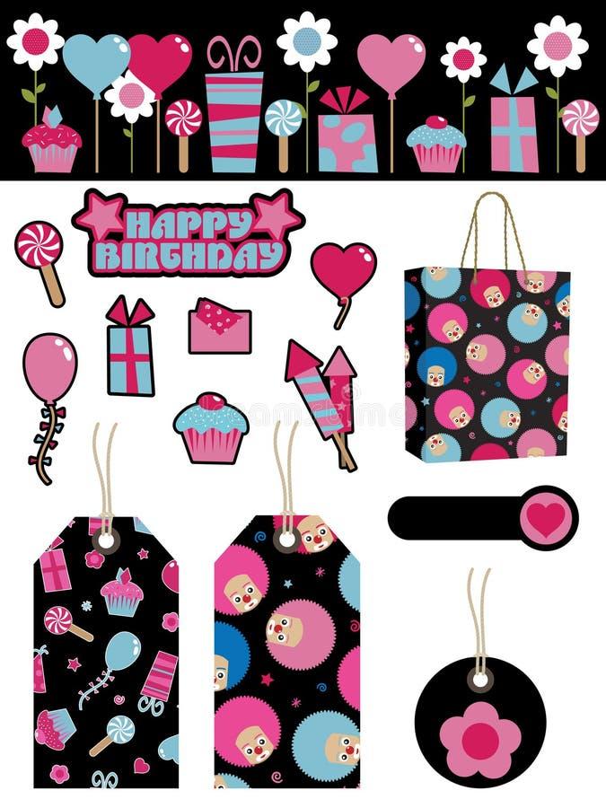 Items negros y rosados del partido ilustración del vector