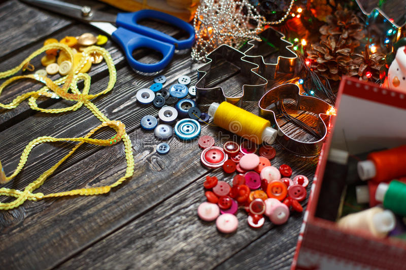 Items for sewing on the table, the background. ! royalty free stock photography