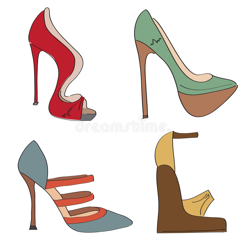 Items Shoes Set On A High Heel Stock Photography