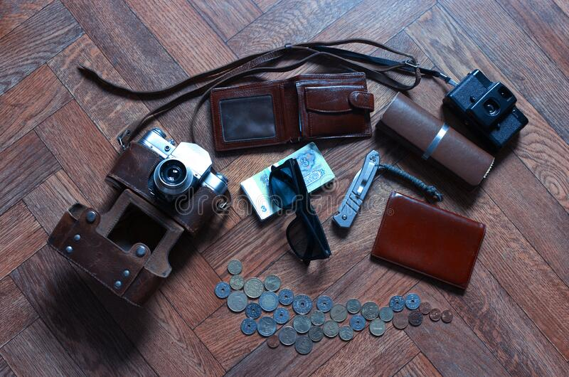 Items of the vintage traveller background royalty free stock image