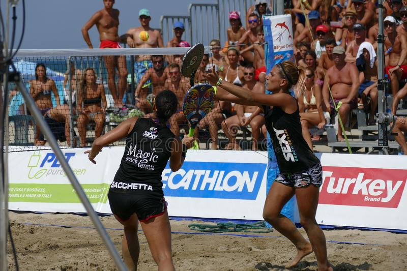 ITF Beach Tennis World Championship 2017 – Women Double Final. Images of Beach Tennis World Championship by ITF and FIT that took place on 1-6 August 2017 stock image