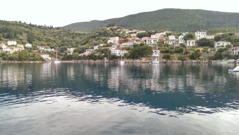 Ithaca. Houses in Kioni harbour, Ithaca. Ionian sea, Greece stock photos