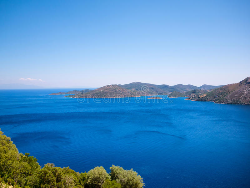 Ithaca island in Greece. Panoramic view of Ithaca island in Greece stock images