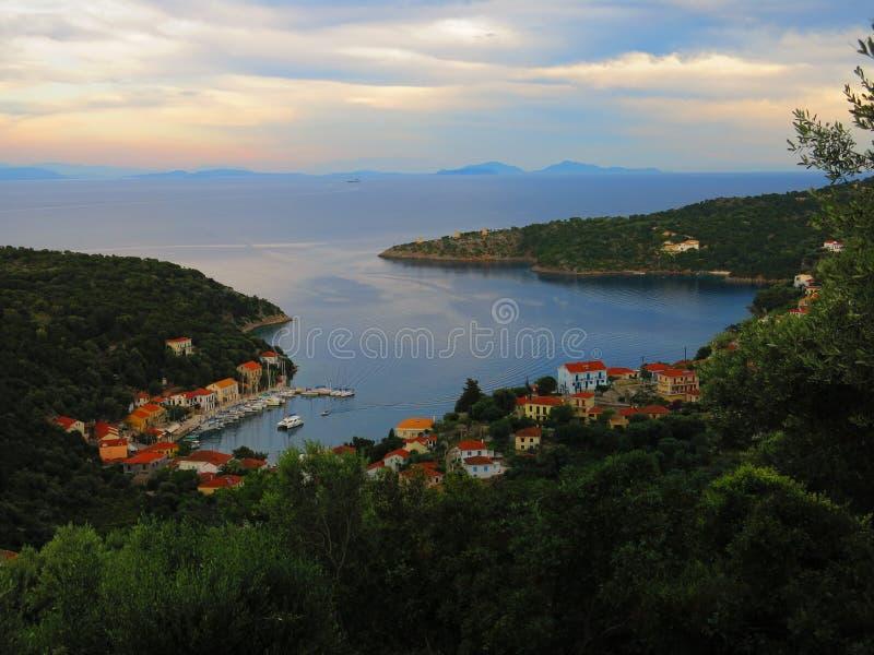 Ithaca island. Harbor, Ionian sea, Greece royalty free stock photos