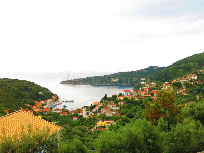 Ithaca island harbor. Scenic view of Ithaca island coastline view from the hillside, Ionian sea, Greece royalty free stock image