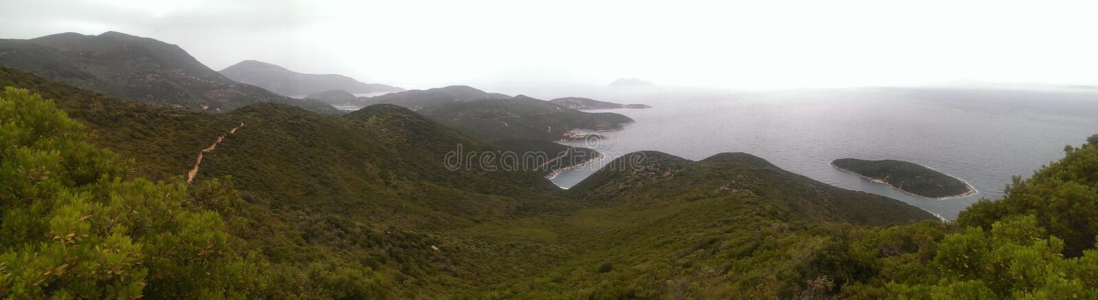 Ithaca. Island, Ionian sea, Greece. View along East shore stock images