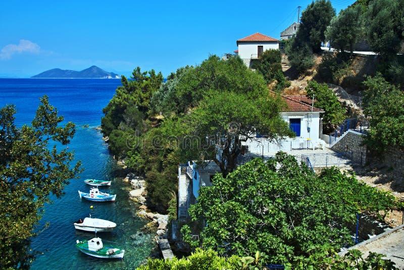 Ithaki-vista de Grécia, ilha da ilha Atokos imagens de stock