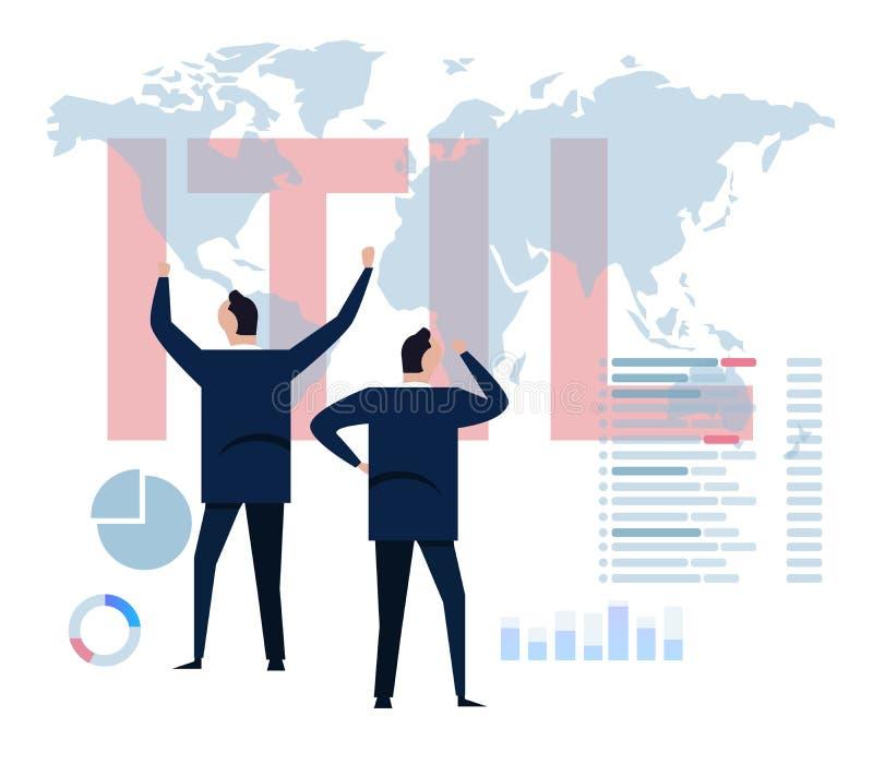 ITIL信息技术基础设施图书馆概念事务 向量例证