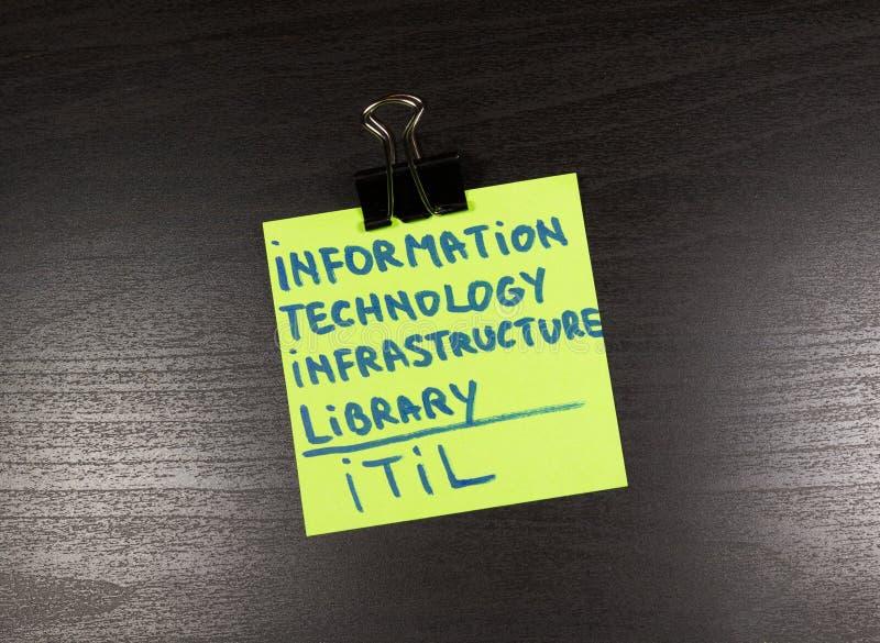 ITIL, nota pegajosa de la biblioteca de la infraestructura de la tecnología de la información sobre fondo de madera imágenes de archivo libres de regalías