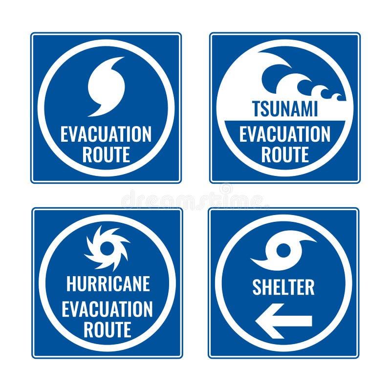 Itinéraire d'évacuation et abri en cas de tsunami ou d'ouragan illustration libre de droits