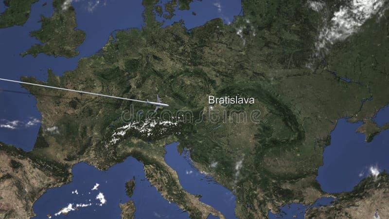 Itinéraire d'un vol plat commercial vers Bratislava, Slovaquie sur la carte rendu 3d illustration stock