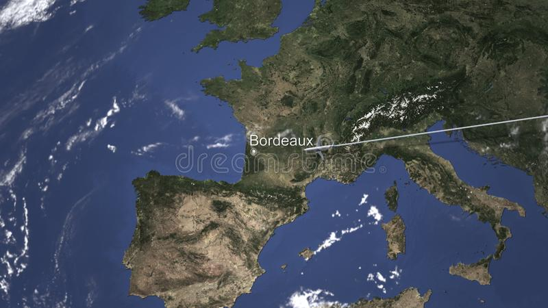 Itinéraire d'un vol plat commercial vers le Bordeaux, France sur la carte rendu 3d illustration de vecteur