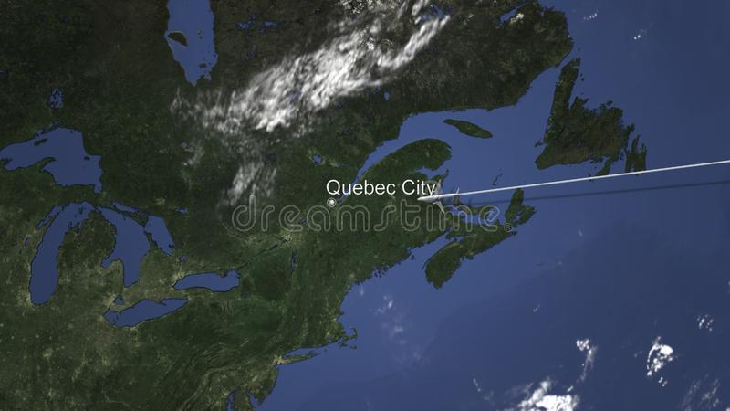 Itinéraire d'un vol plat commercial vers Québec, Canada sur la carte rendu 3d illustration stock
