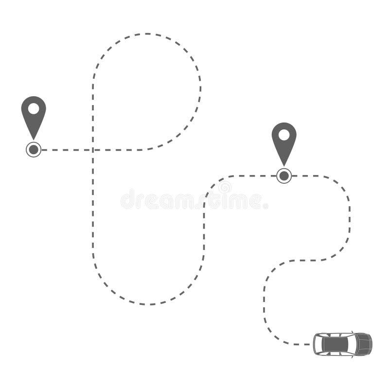 Itinéraire de la voiture illustration de vecteur