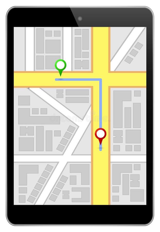 Itinéraire de navigation de Mini Black Business Tablet With illustration de vecteur
