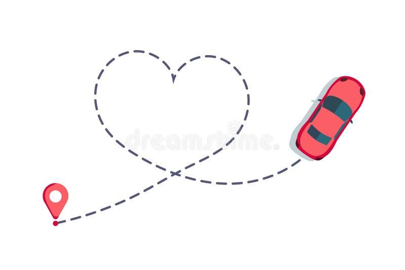 Itinéraire de voiture d'amour Voyage romantique, trace de coeur et itinéraires à ligne pleine Chemin Hearted de véhicule, pointil illustration libre de droits