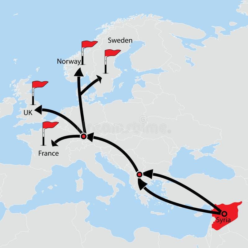 Itinéraire migrateur de Syrie Destinations sur la carte illustration de vecteur