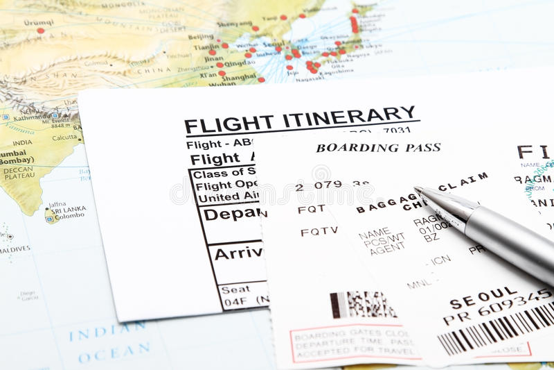 Itinerário do vôo imagem de stock