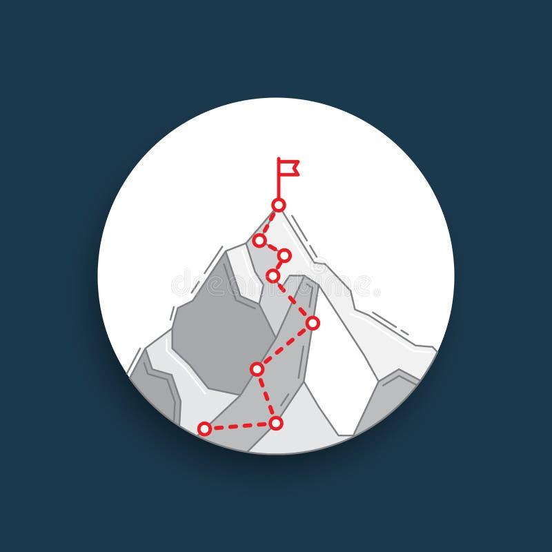 Itinerario alla cima del concetto della montagna del viaggio di affari illustrazione vettoriale