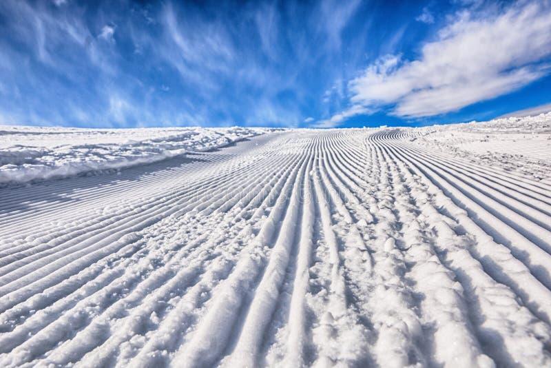 Itinerario ben preparato dello sci Giorno pieno di sole fotografia stock libera da diritti