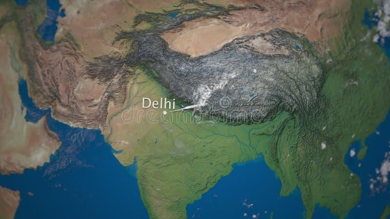 Itinerario del volo commerciale dell'aeroplano da Delhi a Tokyo sul globo della terra Animazione internazionale di introduzione d illustrazione vettoriale