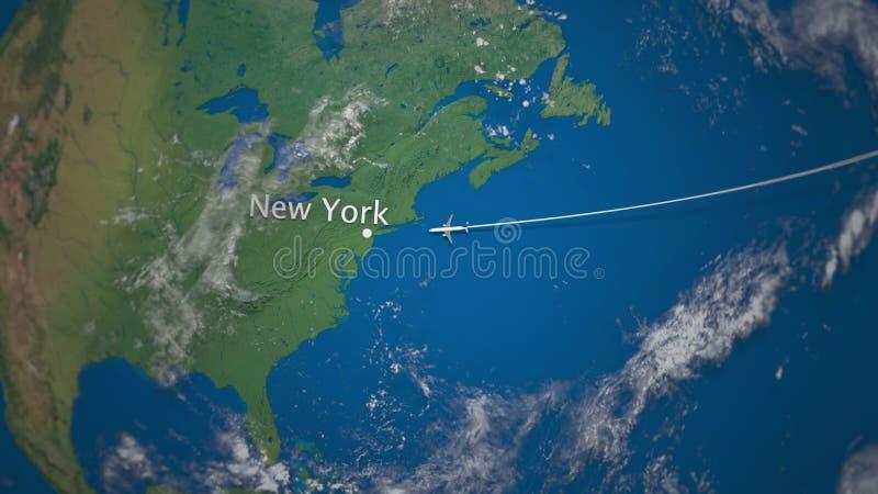 Itinerario del volo commerciale dell'aeroplano a New York sul globo della terra Rappresentazione internazionale di viaggio 3D illustrazione di stock