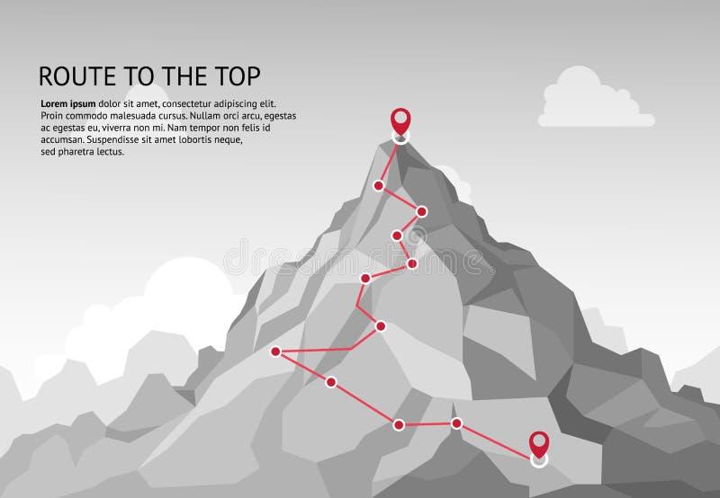 Itinerario della montagna infographic Missione rampicante di successo di crescita di carriera di scopo di affari del percorso di  illustrazione di stock