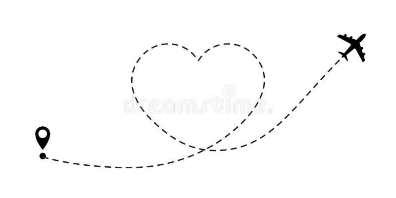 Itinerario di viaggio di amore Linea icona dell'aeroplano di vettore del percorso del viaggio dell'itinerario di volo dell'aereo  royalty illustrazione gratis