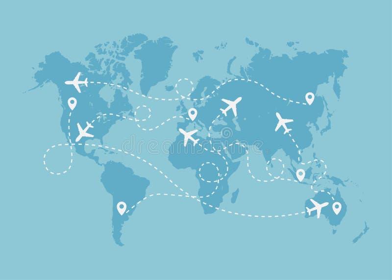 Itinerario di viaggio dell'aeroplano con il concetto del punto di inizio sulla mappa di mondo immagini stock libere da diritti