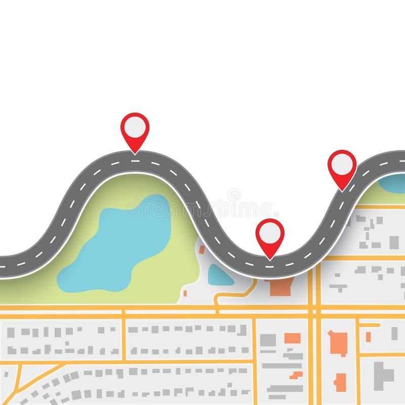 Itinerario di viaggio stradale Strada di bobina sulla mappa dell'estratto di navigazione di GPS illustrazione di stock
