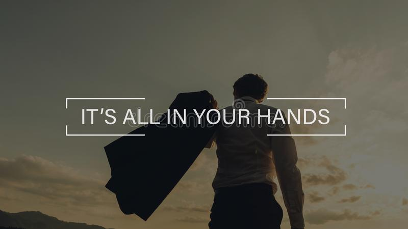 Its all in your hands sign stock photography