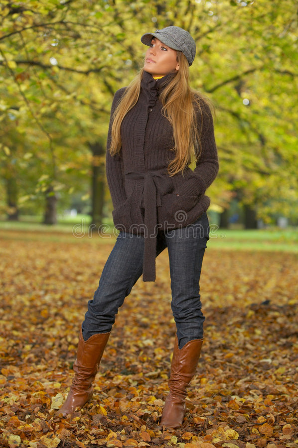 Its Autumn! 2. 20-25 years old beautiful woman portrait in natural autumn outdoors stock image