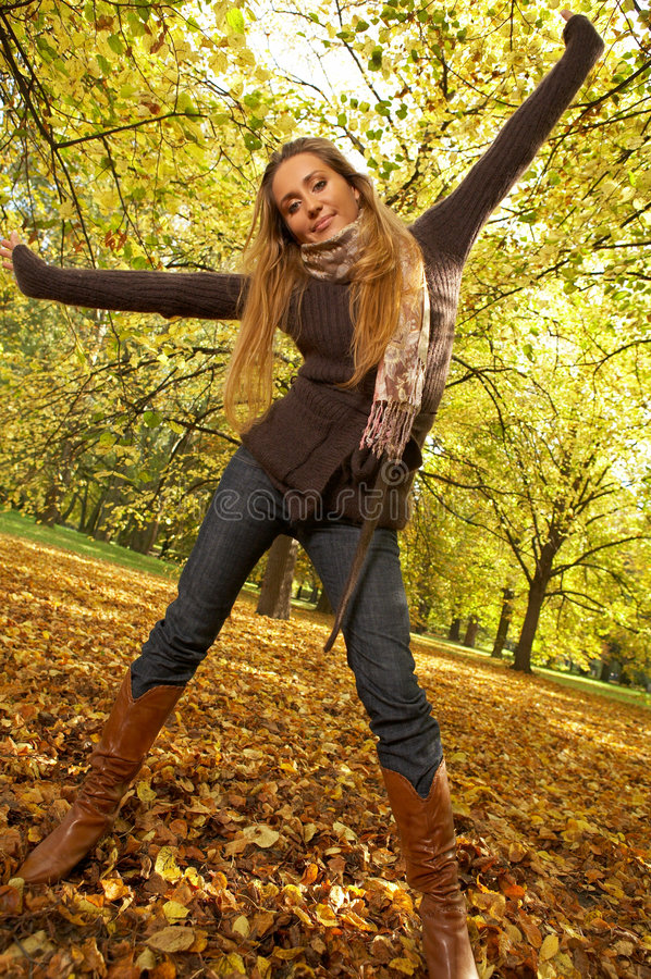 Download Its Autumn! stock image. Image of colorful, sweater, blond - 3481991