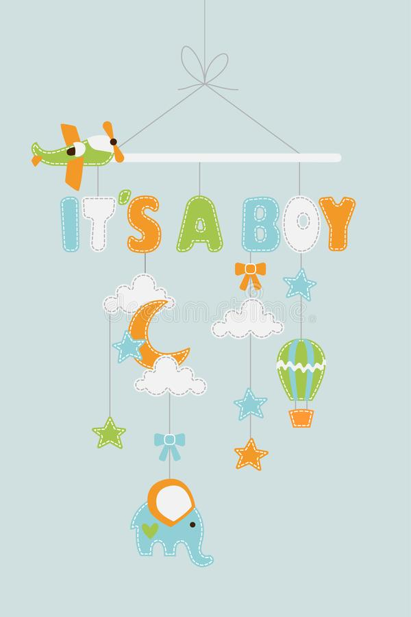 Its a Boy - baby decoration with stars airplanes elephant balloon hanging on thread vector illustration