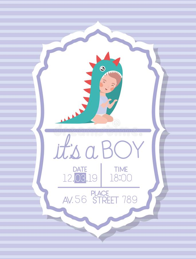 Its a boy baby shower card with kid disguised stock illustration