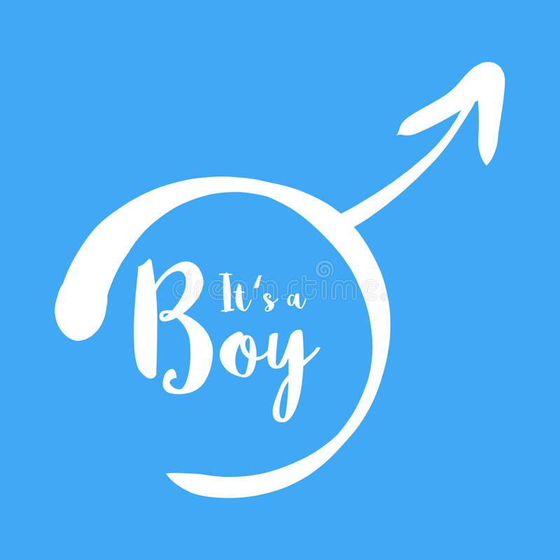 Its a boy - baby shower invitation template. Calligraphic text in the hand-drawn male gender sign. Baby born. Announcement template. Simple flat white vector vector illustration