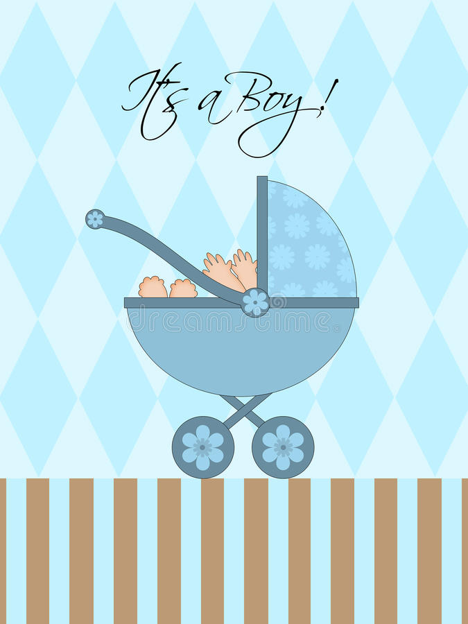 Its A Boy Blue Baby Pram. Carriage with Background Illustration royalty free illustration