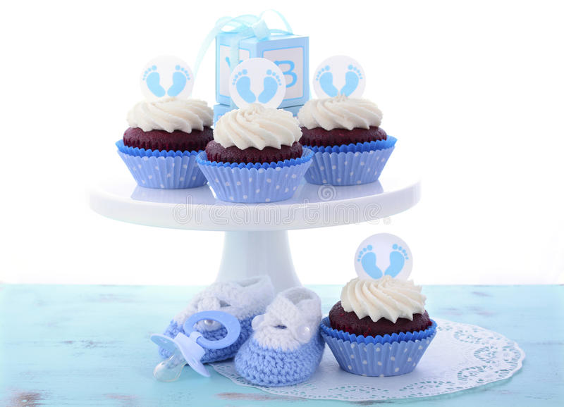 download its a boy blue baby shower cupcakes stock photo image 57045750