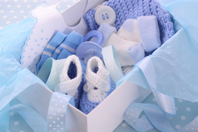 Its a Boy Blue Baby Shower Gift Box stock photo