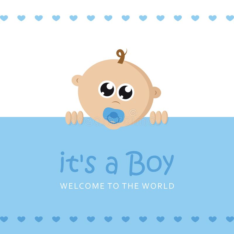 Its a boy welcome greeting card for childbirth with baby face. Vector illustration EPS10 stock illustration