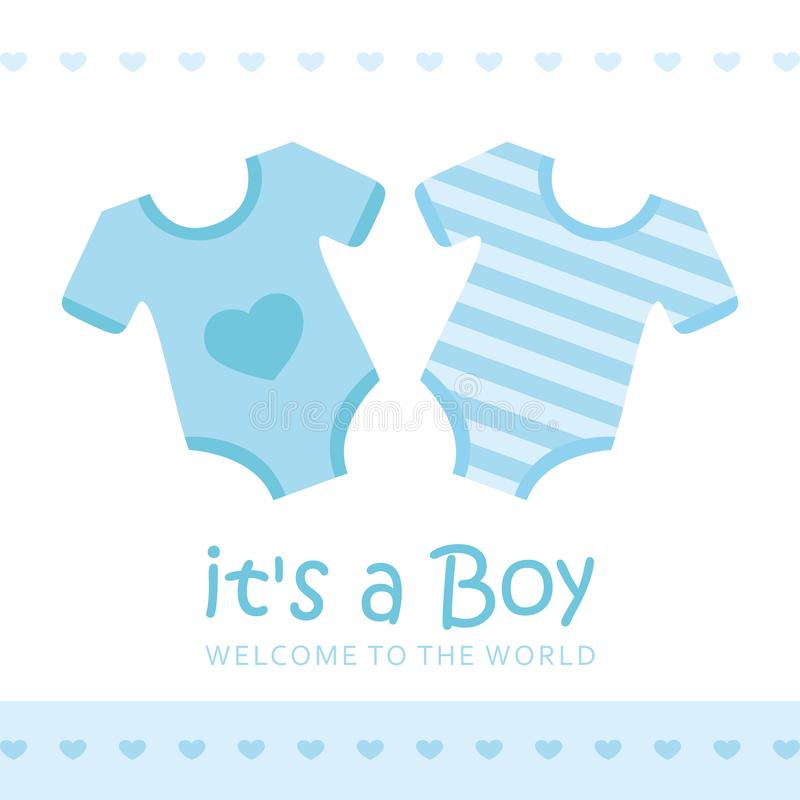 Its a boy welcome greeting card for childbirth with bodysuit. Vector illustration EPS10 royalty free illustration