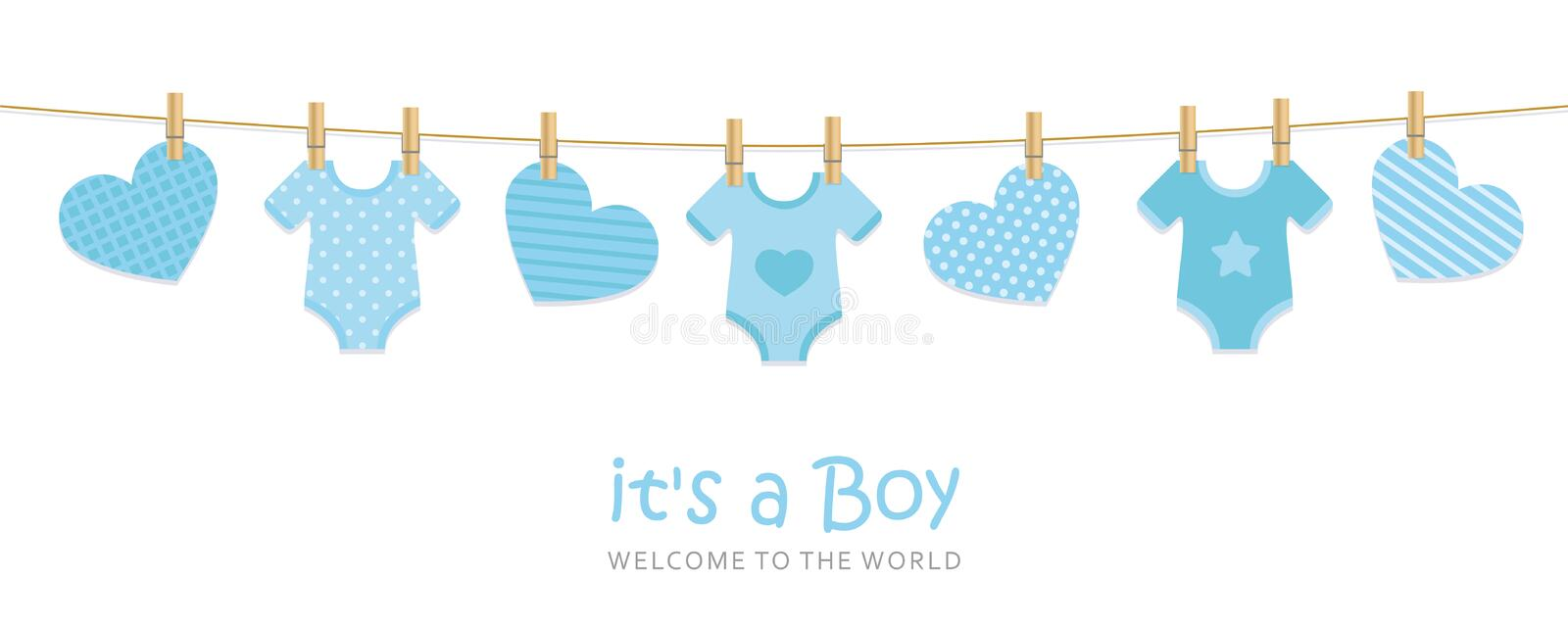 Its a boy welcome greeting card for childbirth with hanging hearts and bodysuits. Vector illustration EPS10 royalty free illustration