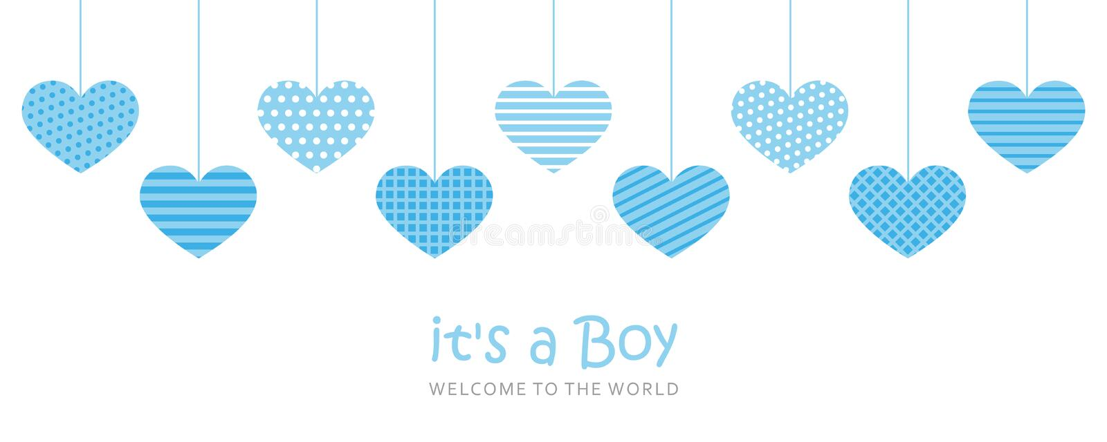 Its a boy welcome greeting card for childbirth with hanging hearts. Vector illustration EPS10 royalty free illustration