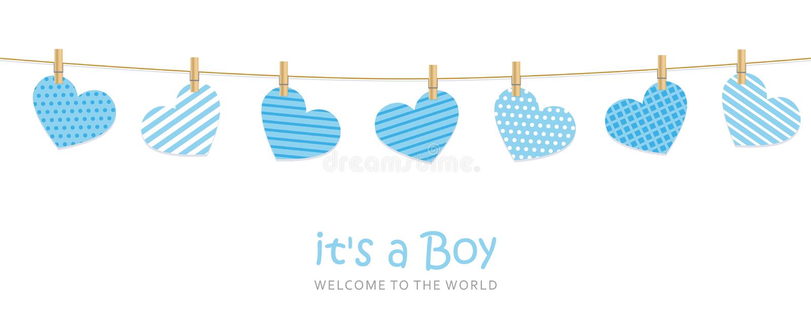 Its a boy welcome greeting card for childbirth with hanging hearts. Vector illustration EPS10 vector illustration