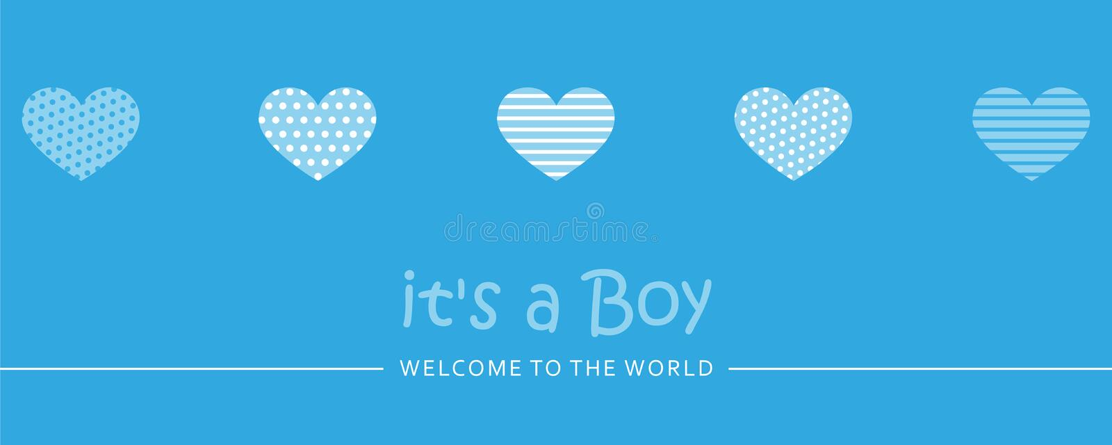 Its a boy welcome greeting card for childbirth with hearts. Vector illustration EPS10 vector illustration