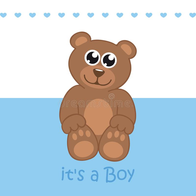 Its a boy welcome greeting card for childbirth with teddy bear. Vector illustration EPS10 royalty free illustration