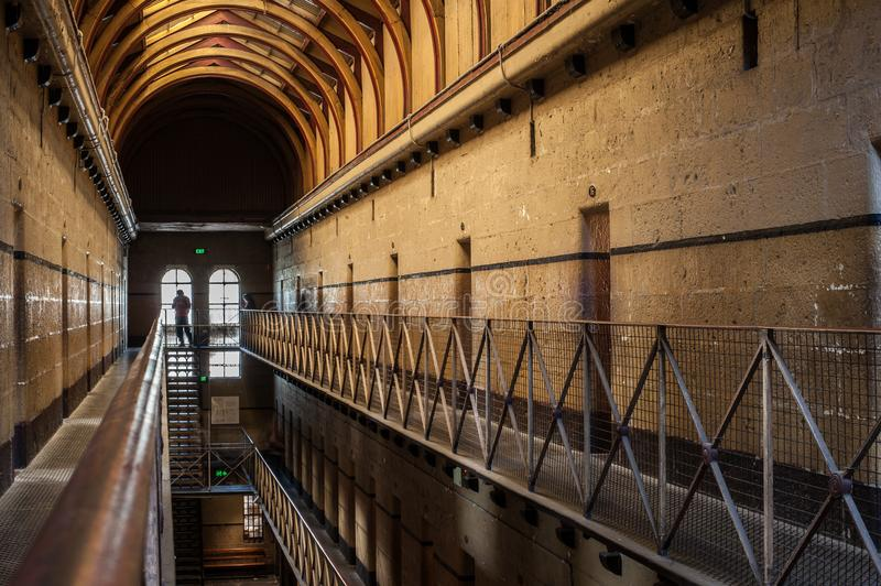 Melbourne Gaol Sunlight. Between 1842 and its closure in 1929 the gaol was the scene of 133 hangings including Australia's most infamous citizen, the royalty free stock photography
