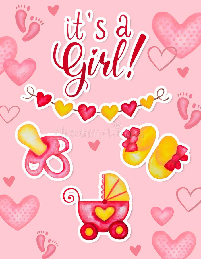 Its a girl baby shower card design. Hand drawn watercolor illustration with hearts dummy booties and baby carriage vector illustration