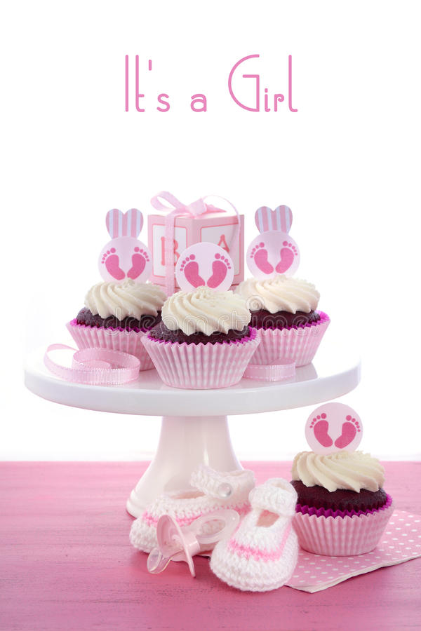 Its A Girl Baby Shower Cupcakes Stock Photo Image Of Knit Baby